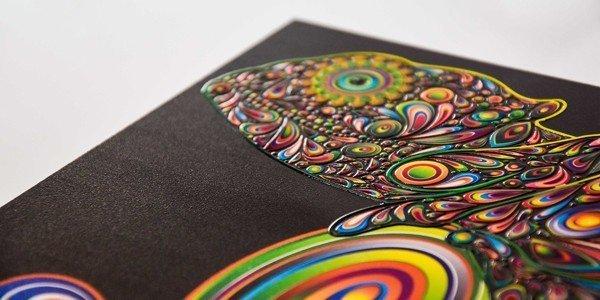 stampa colori + bianco + vernice